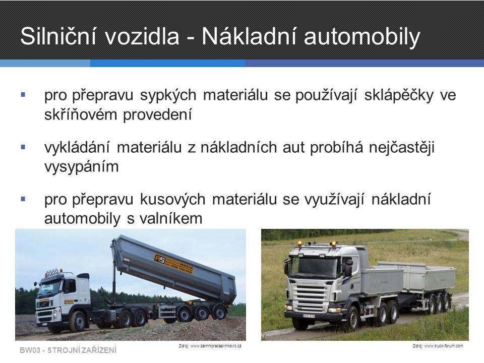 Silniční vozidla - Nákladní automobily  pro přepravu sypkých materiálu se používají sklápěčky ve skříňovém provedení  vykládání materiálu z nákladních aut probíhá nejčastěji vysypáním  pro přepravu kusových materiálu se využívají nákladní automobily s valníkem BW03 - STROJNÍ ZAŘÍZENÍ Zdroj: www.zemnipracesimkovic.cz Zdroj: www.truck-forum.com