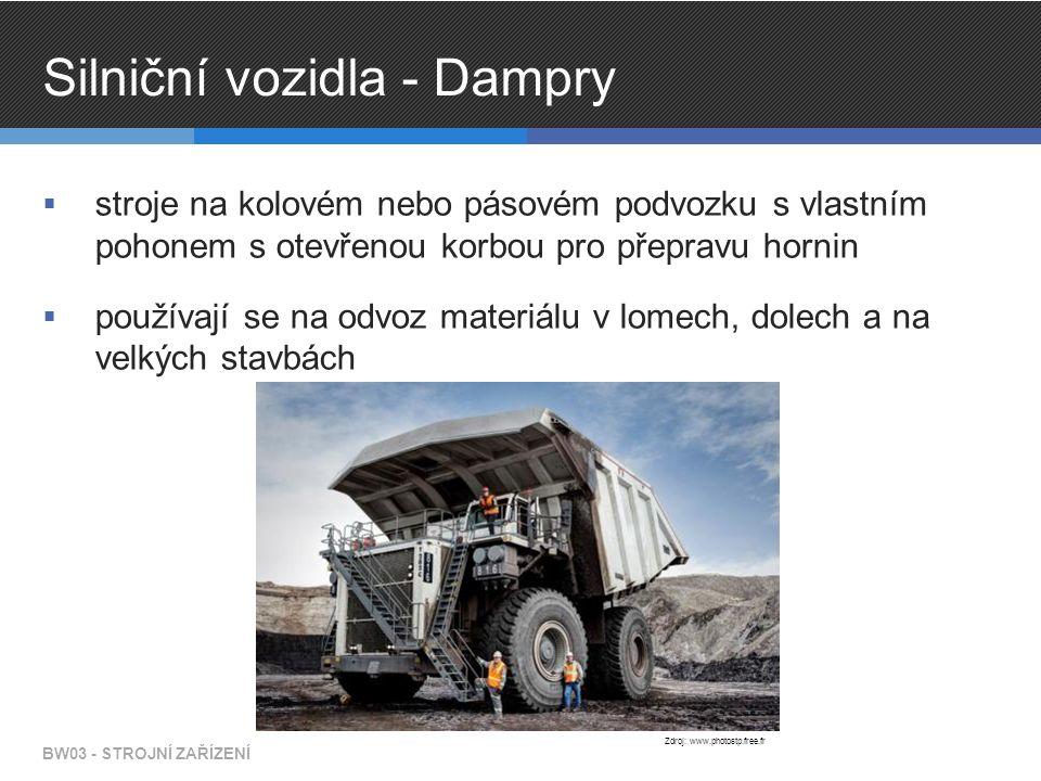 Silniční vozidla - Dampry  stroje na kolovém nebo pásovém podvozku s vlastním pohonem s otevřenou korbou pro přepravu hornin  používají se na odvoz materiálu v lomech, dolech a na velkých stavbách BW03 - STROJNÍ ZAŘÍZENÍ Zdroj: www.photostp.free.fr