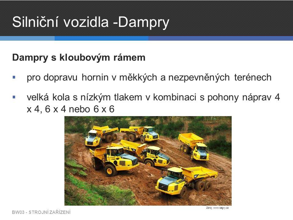 Silniční vozidla -Dampry Dampry s kloubovým rámem  pro dopravu hornin v měkkých a nezpevněných terénech  velká kola s nízkým tlakem v kombinaci s pohony náprav 4 x 4, 6 x 4 nebo 6 x 6 BW03 - STROJNÍ ZAŘÍZENÍ Zdroj: www.bagry.cz