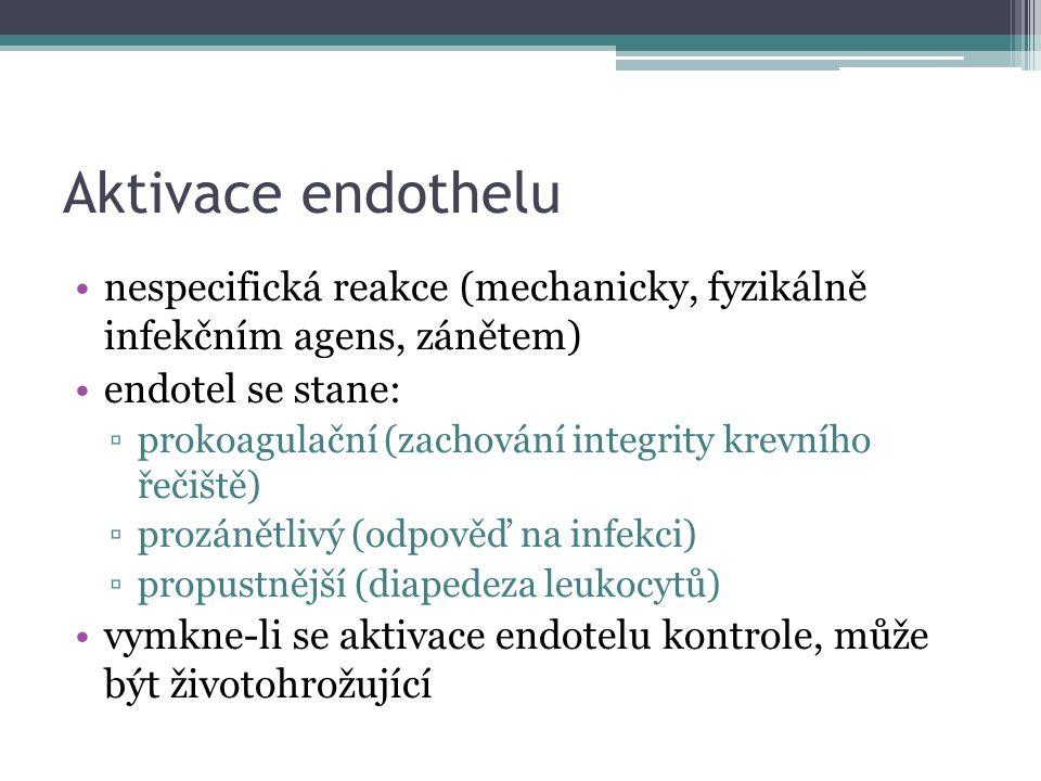 Aktivace endothelu nespecifická reakce (mechanicky, fyzikálně infekčním agens, zánětem) endotel se stane: ▫prokoagulační (zachování integrity krevního řečiště) ▫prozánětlivý (odpověď na infekci) ▫propustnější (diapedeza leukocytů) vymkne-li se aktivace endotelu kontrole, může být životohrožující