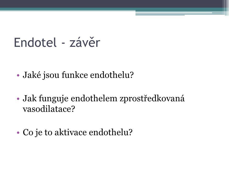 Endotel - závěr Jaké jsou funkce endothelu. Jak funguje endothelem zprostředkovaná vasodilatace.