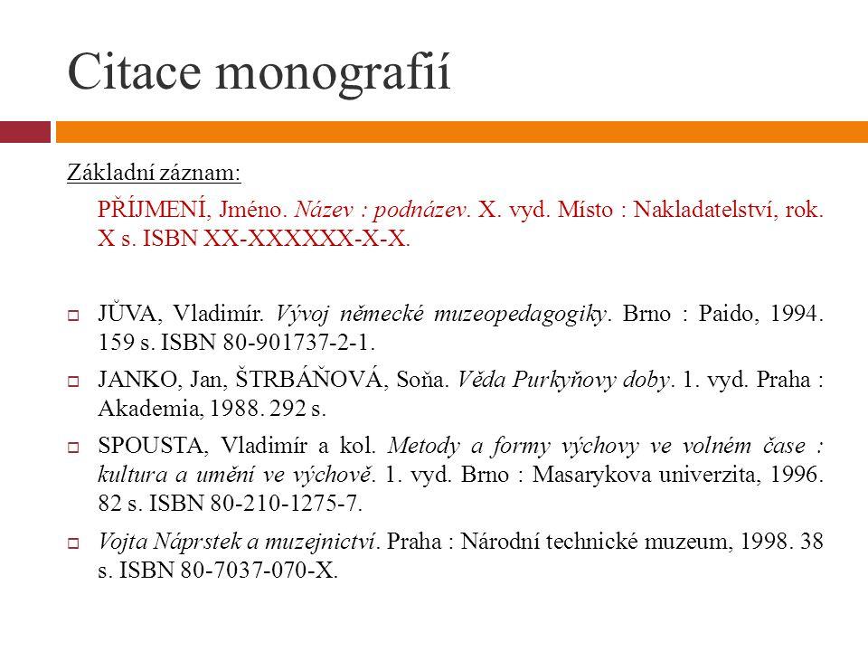 Citace monografií Základní záznam: PŘÍJMENÍ, Jméno. Název : podnázev. X. vyd. Místo : Nakladatelství, rok. X s. ISBN XX-XXXXXX-X-X.  JŮVA, Vladimír.