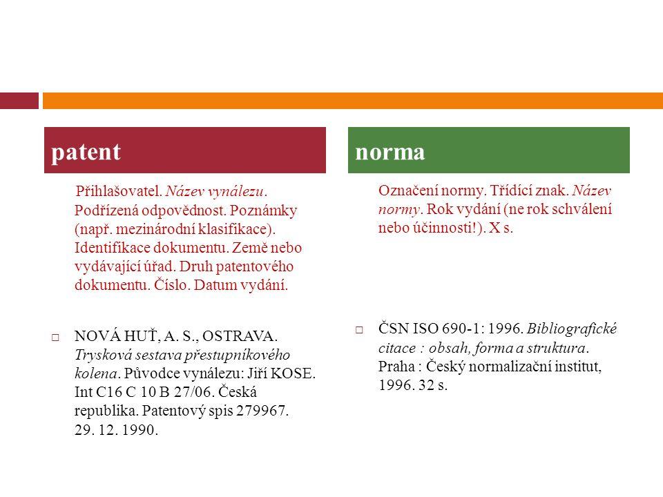 Přihlašovatel. Název vynálezu. Podřízená odpovědnost. Poznámky (např. mezinárodní klasifikace). Identifikace dokumentu. Země nebo vydávající úřad. Dru