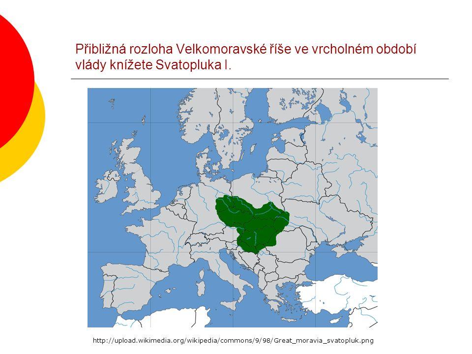 Přibližná rozloha Velkomoravské říše ve vrcholném období vlády knížete Svatopluka I. http://upload.wikimedia.org/wikipedia/commons/9/98/Great_moravia_