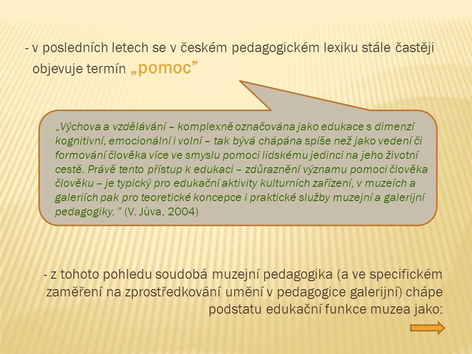 """- v posledních letech se v českém pedagogickém lexiku stále častěji objevuje termín """"pomoc"""" """"Výchova a vzdělávání – komplexně označována jako edukace"""