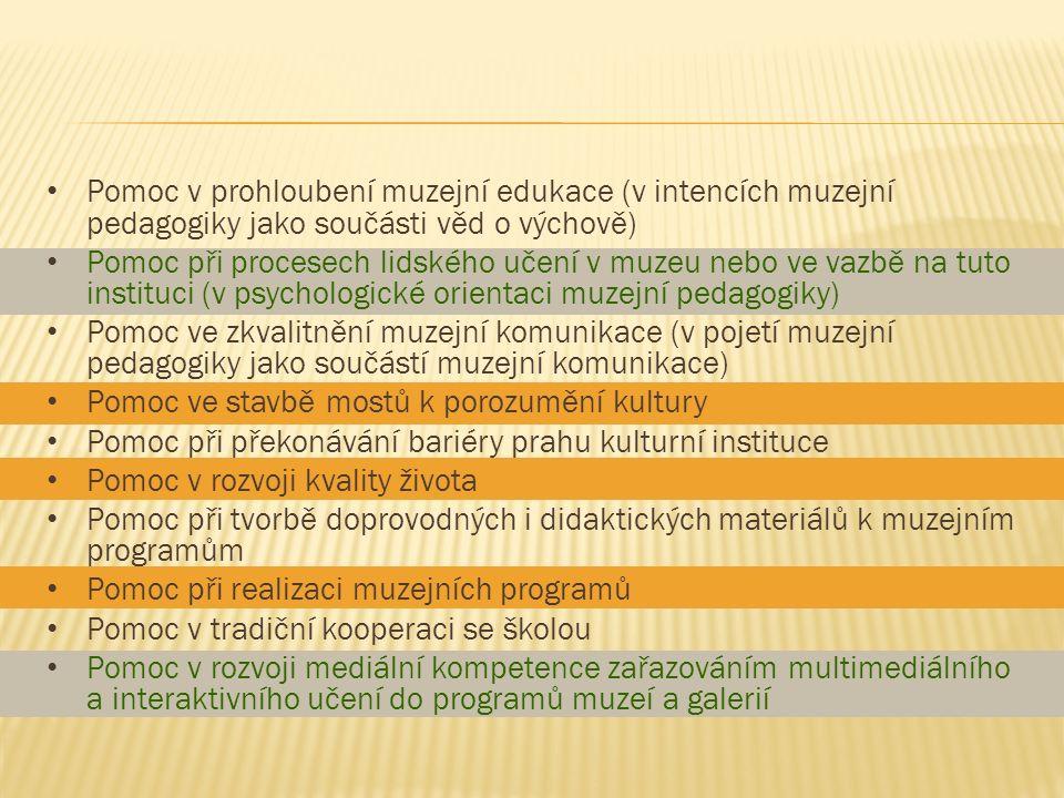 Pomoc v prohloubení muzejní edukace (v intencích muzejní pedagogiky jako součásti věd o výchově) Pomoc při procesech lidského učení v muzeu nebo ve va