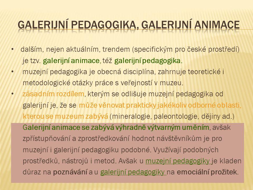 dalším, nejen aktuálním, trendem (specifickým pro české prostředí) je tzv. galerijní animace, též galerijní pedagogika. muzejní pedagogika je obecná d