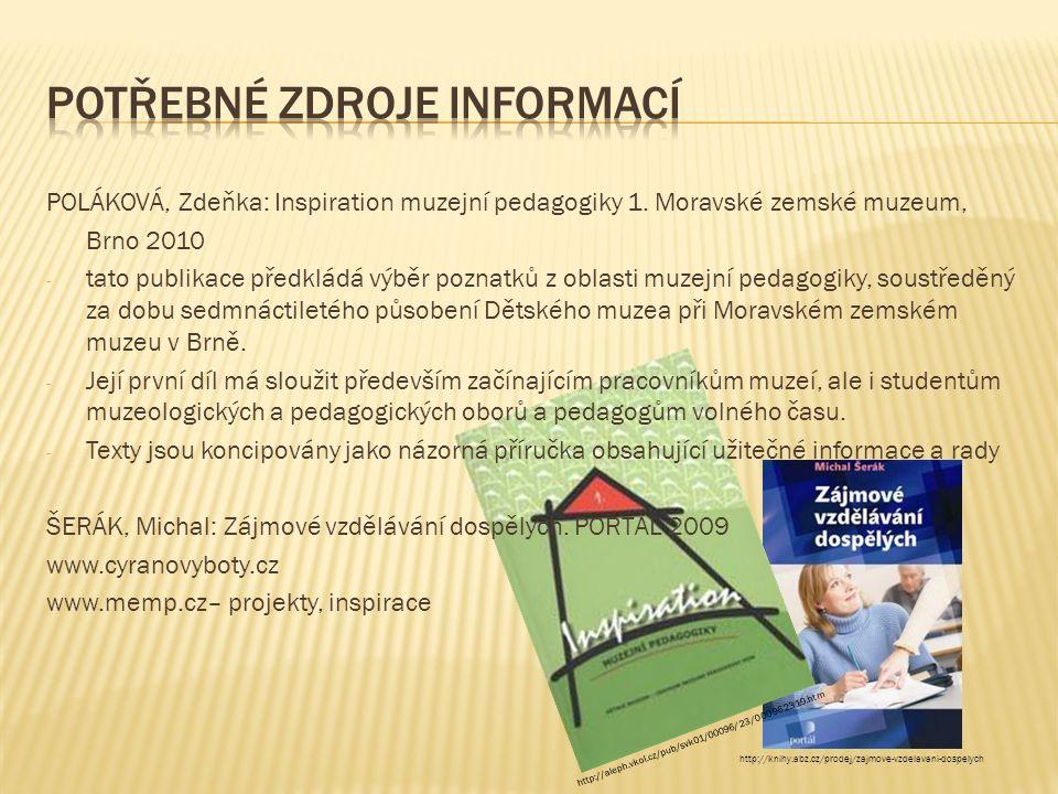 POLÁKOVÁ, Zdeňka: Inspiration muzejní pedagogiky 1. Moravské zemské muzeum, Brno 2010 - tato publikace předkládá výběr poznatků z oblasti muzejní peda