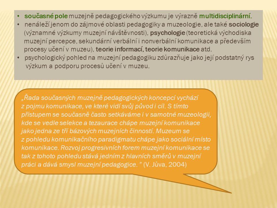 """""""Muzejní pedagogika začíná tehdy, když vznikne efekt setkání muzea s člověkem, pokouší se odpovědět na otázku, jak se má změnit charakter muzejní komunikace, ve své podstatě vizuální, ve spojitosti s přeměnami ve společnosti dotýkajícími se kultury a vzdělávání (Gilmutdinová, 2001) """"Muzejní pedagogiku chápeme jako typickou moderní interdisciplinární vědu, která vychází především z podnětů pedagogiky a muzeologie za současného respektování psychologických, sociologických, komunikačních ad."""