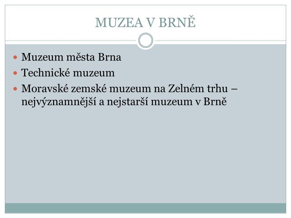 MUZEA V BRNĚ Muzeum města Brna Technické muzeum Moravské zemské muzeum na Zelném trhu – nejvýznamnější a nejstarší muzeum v Brně