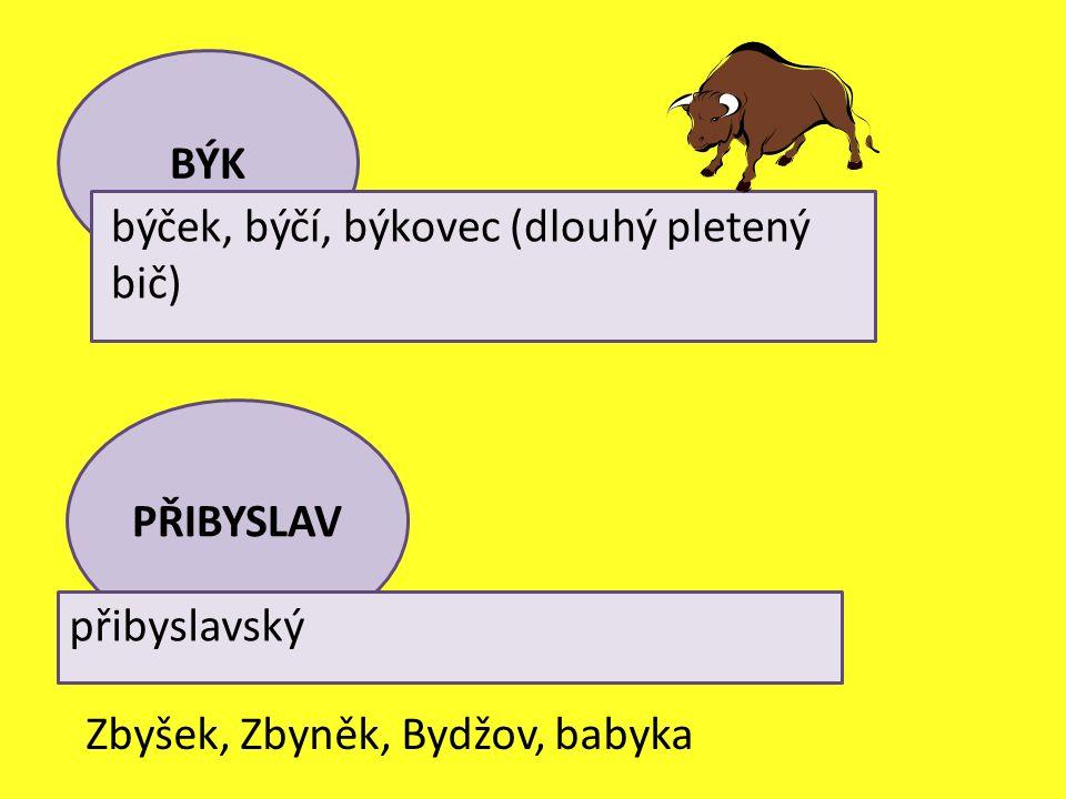 PŘIBYSLAV přibyslavský Zbyšek, Zbyněk, Bydžov, babyka BÝK býček, býčí, býkovec (dlouhý pletený bič)