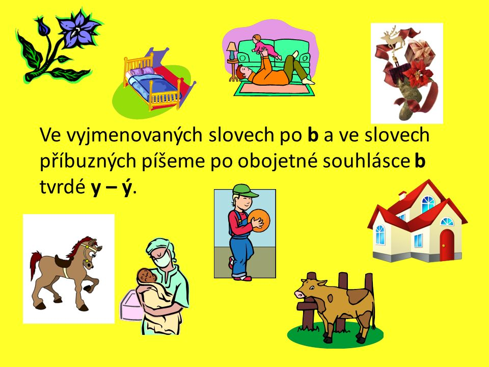 Ve vyjmenovaných slovech po b a ve slovech příbuzných píšeme po obojetné souhlásce b tvrdé y – ý.