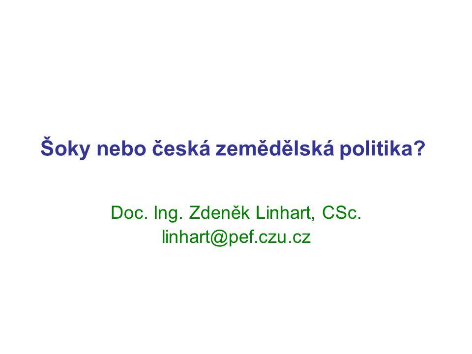 Šoky nebo česká zemědělská politika Doc. Ing. Zdeněk Linhart, CSc. linhart@pef.czu.cz