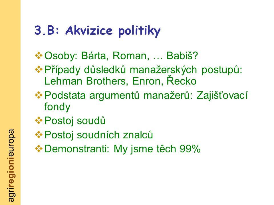 agriregionieuropa 3.B: Akvizice politiky  Osoby: Bárta, Roman, … Babiš.
