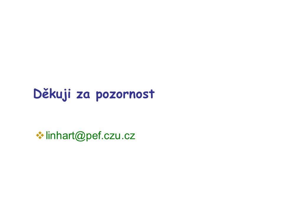 Děkuji za pozornost  linhart@pef.czu.cz