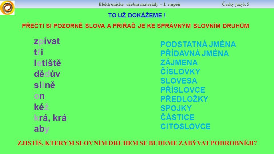 Elektronické učební materiály – I. stupeň Český jazyk 5 Autor: Mgr.