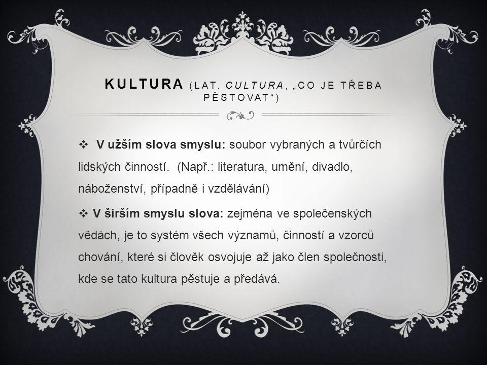 """KULTURA (LAT. CULTURA, """"CO JE TŘEBA PĚSTOVAT"""")  V užším slova smyslu: soubor vybraných a tvůrčích lidských činností. (Např.: literatura, umění, divad"""