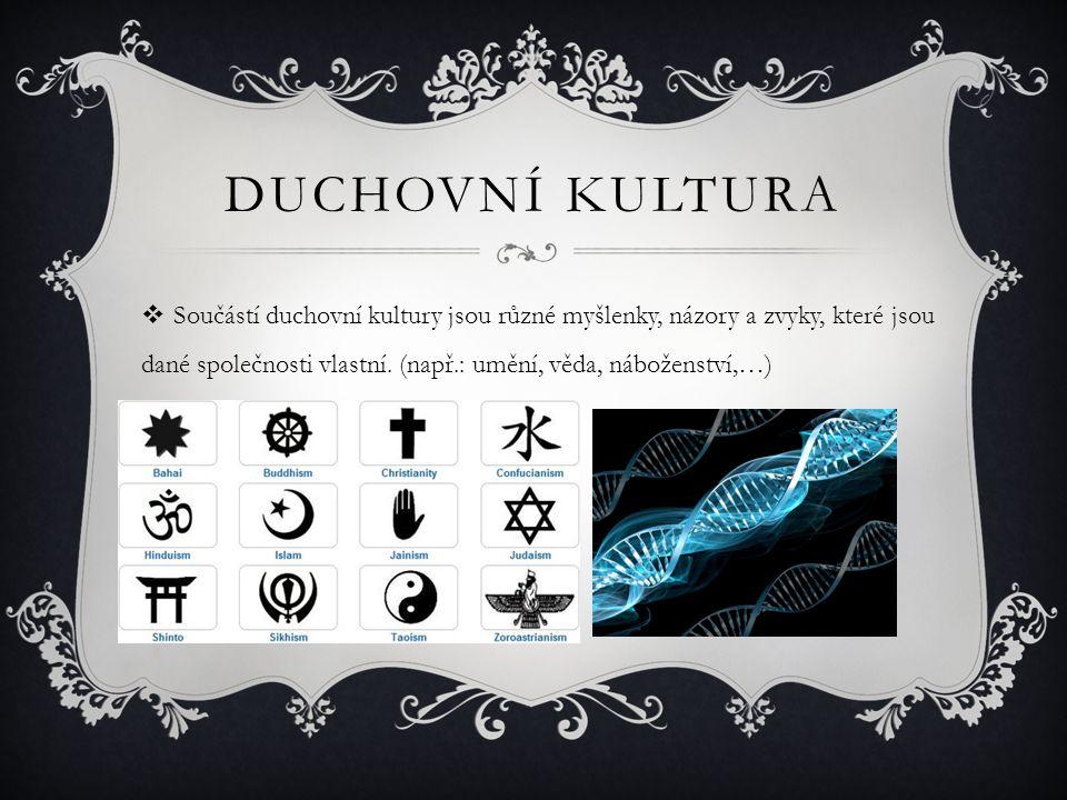 DUCHOVNÍ KULTURA  Součástí duchovní kultury jsou různé myšlenky, názory a zvyky, které jsou dané společnosti vlastní. (např.: umění, věda, náboženstv