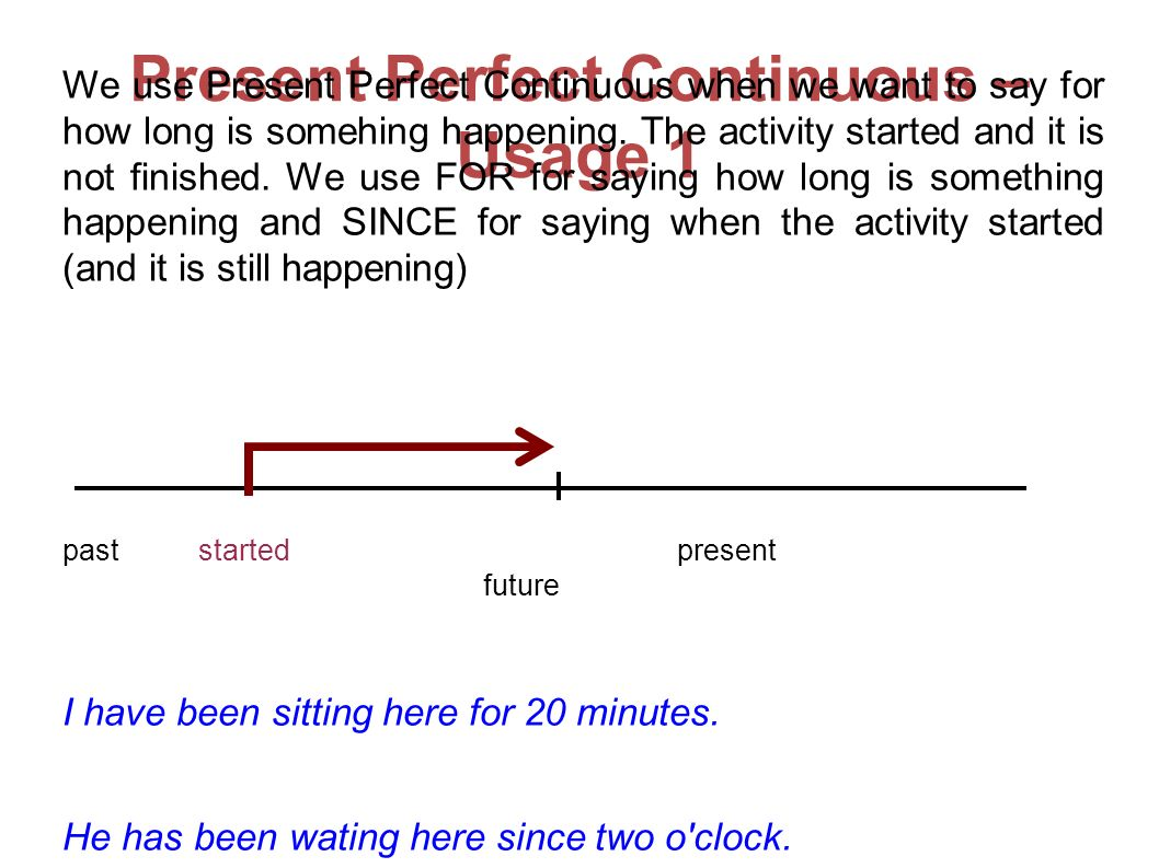 Present Perfect Continuous – Usage 1 We use Present Perfect Continuous when we want to say for how long is somehing happening.