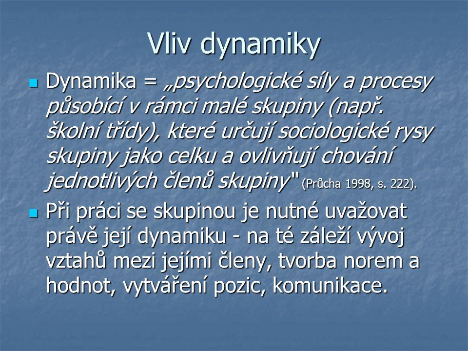 """Vliv dynamiky Dynamika = """"psychologické síly a procesy působící v rámci malé skupiny (např."""
