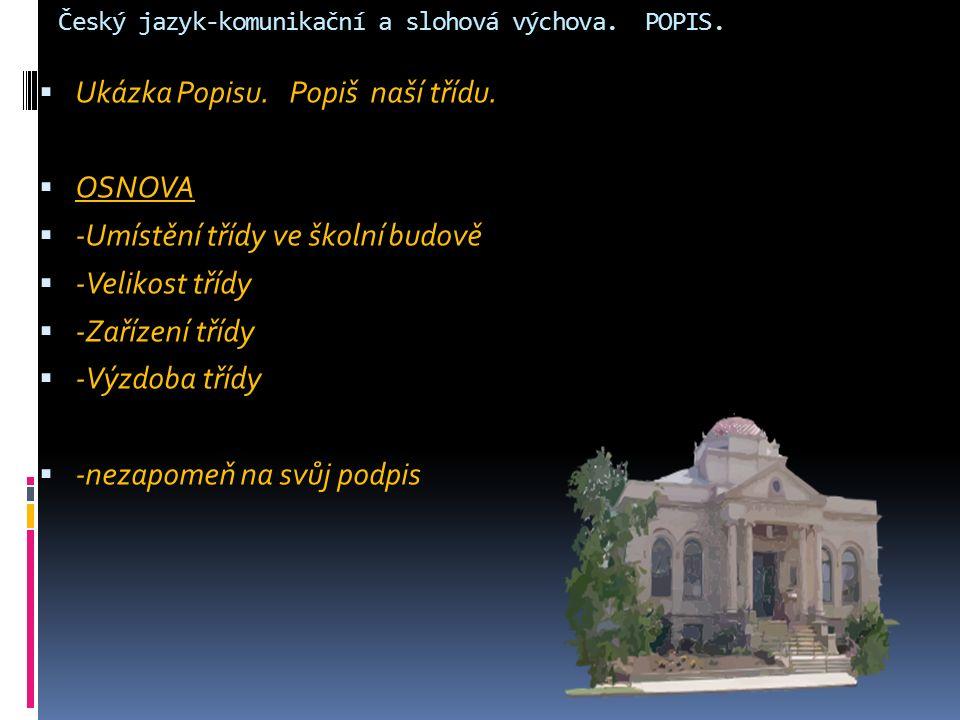 Český jazyk-komunikační a slohová výchova. POPIS.