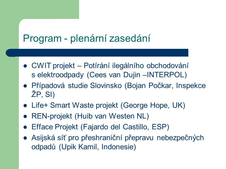 Program - plenární zasedání CWIT projekt – Potírání ilegálního obchodování s elektroodpady (Cees van Dujin –INTERPOL) Případová studie Slovinsko (Boja