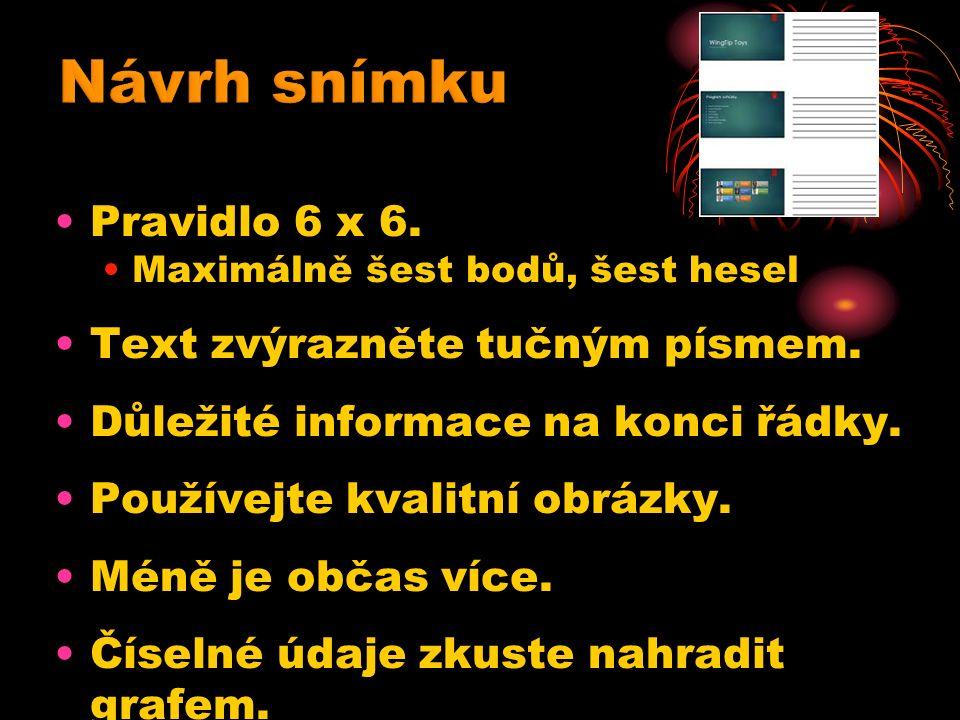 Pravidlo 6 x 6. Maximálně šest bodů, šest hesel Text zvýrazněte tučným písmem.
