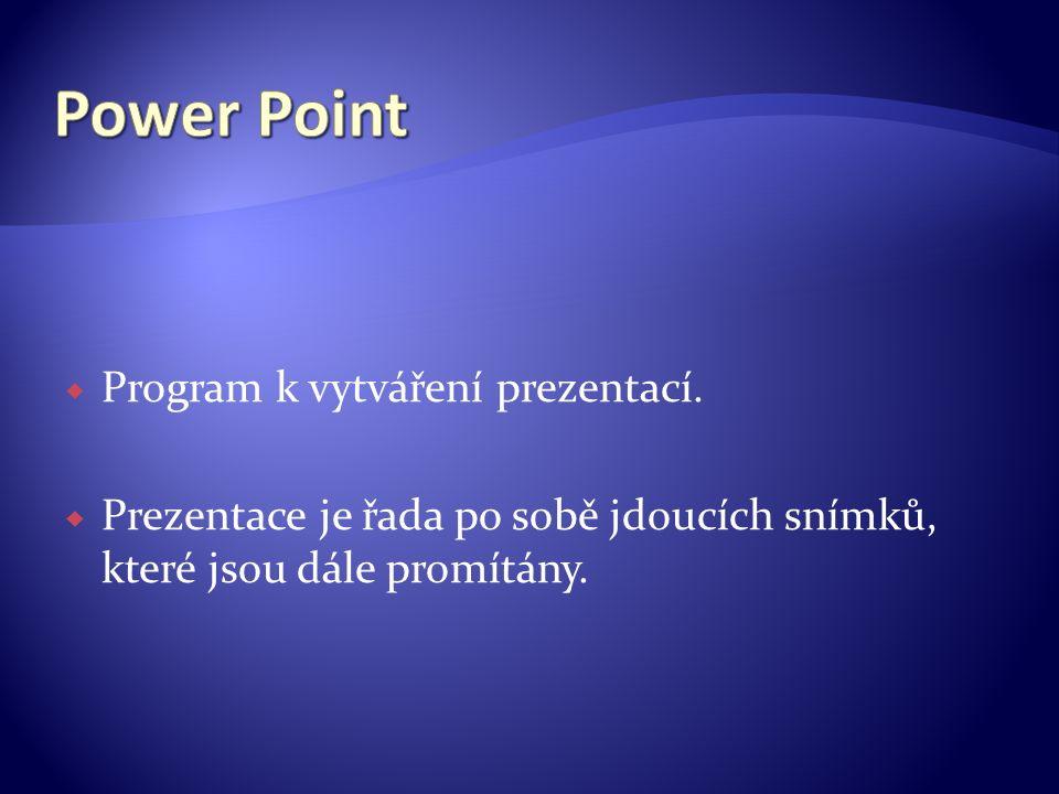  Program k vytváření prezentací.