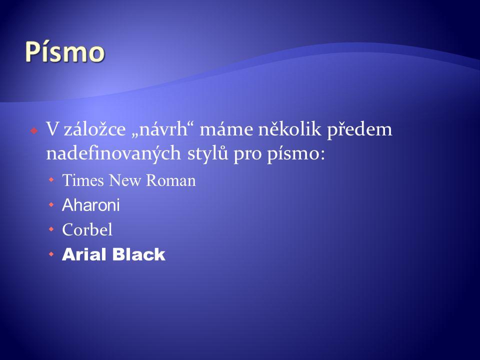 """ V záložce """"návrh máme několik předem nadefinovaných stylů pro písmo:  Times New Roman  Aharoni  Corbel  Arial Black"""
