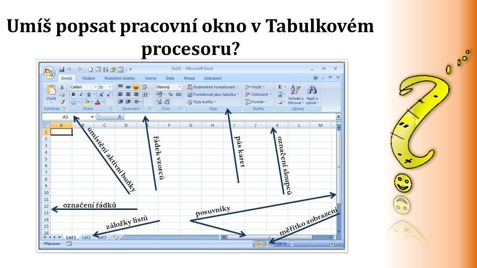 Umíš popsat pracovní okno v Tabulkovém procesoru? umístění aktivní buňky řádek vzorcůpás karetoznačení sloupců označení řádků záložky listů posuvníky