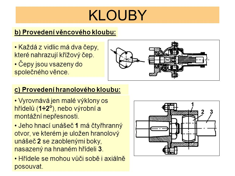 KLOUBY b) Provedení věncového kloubu: Každá z vidlic má dva čepy, které nahrazují křížový čep. Čepy jsou vsazeny do společného věnce. c) Provedení hra