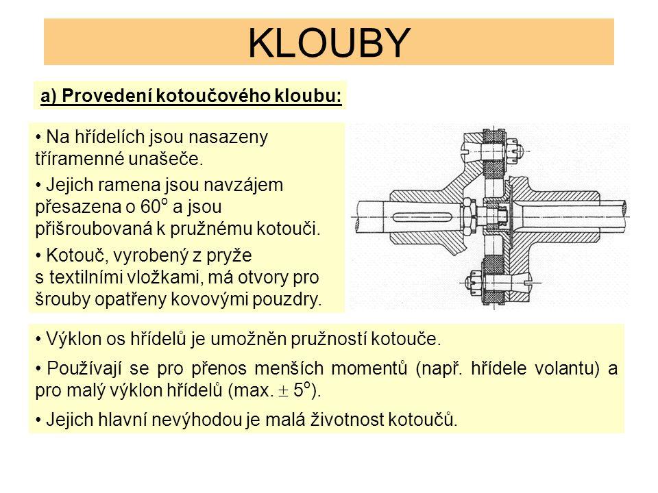 KLOUBY a) Provedení kotoučového kloubu: Na hřídelích jsou nasazeny tříramenné unašeče. Jejich ramena jsou navzájem přesazena o 60 o a jsou přišroubova