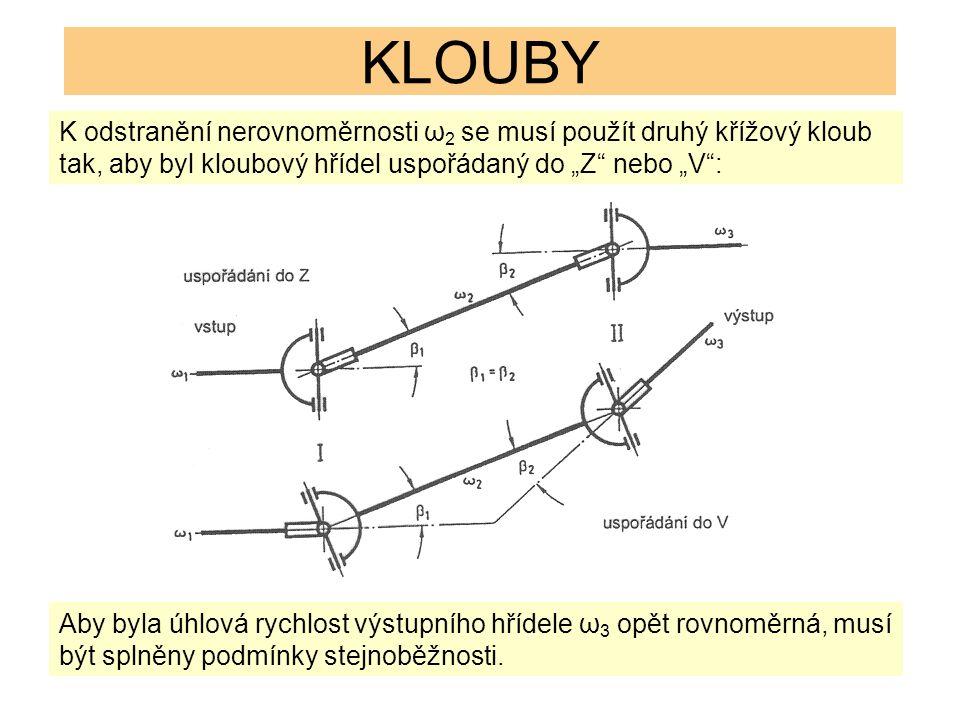 """KLOUBY K odstranění nerovnoměrnosti ω 2 se musí použít druhý křížový kloub tak, aby byl kloubový hřídel uspořádaný do """"Z nebo """"V : Aby byla úhlová rychlost výstupního hřídele ω 3 opět rovnoměrná, musí být splněny podmínky stejnoběžnosti."""