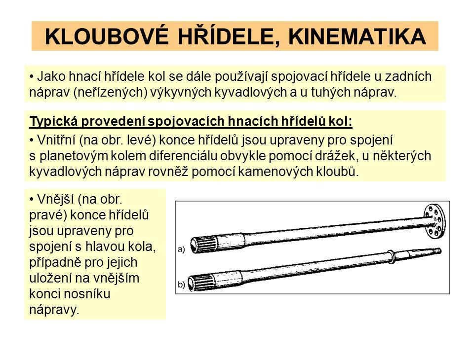 KLOUBOVÉ HŘÍDELE, KINEMATIKA Jako hnací hřídele kol se dále používají spojovací hřídele u zadních náprav (neřízených) výkyvných kyvadlových a u tuhých náprav.