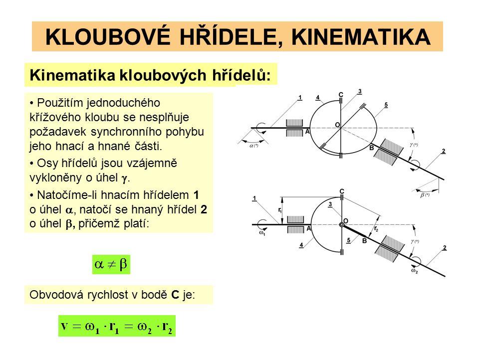 KLOUBOVÉ HŘÍDELE, KINEMATIKA Kinematika kloubových hřídelů: Použitím jednoduchého křížového kloubu se nesplňuje požadavek synchronního pohybu jeho hnací a hnané části.