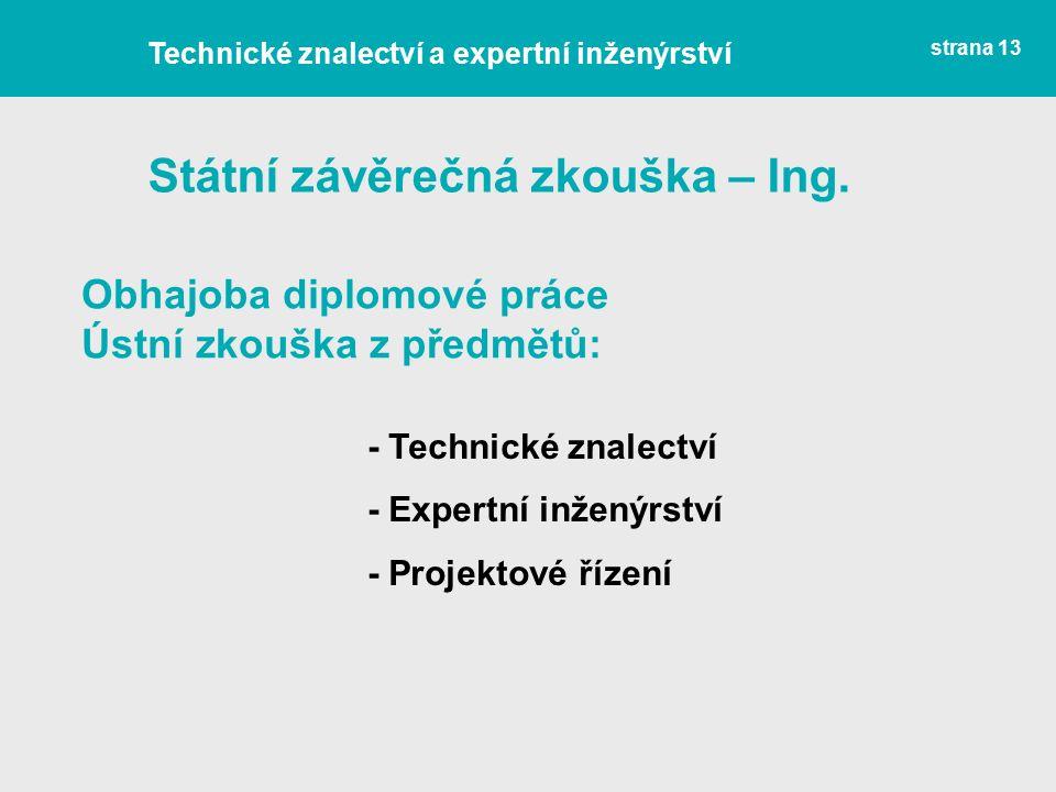 Státní závěrečná zkouška – Ing.