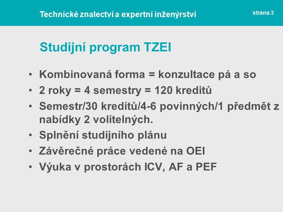 Studijní program TZEI Kombinovaná forma = konzultace pá a so 2 roky = 4 semestry = 120 kreditů Semestr/30 kreditů/4-6 povinných/1 předmět z nabídky 2 volitelných.