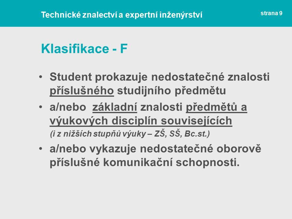 Klasifikace - F Student prokazuje nedostatečné znalosti příslušného studijního předmětu a/nebo základní znalosti předmětů a výukových disciplín souvisejících (i z nižších stupňů výuky – ZŠ, SŠ, Bc.st.) a/nebo vykazuje nedostatečné oborově příslušné komunikační schopnosti.