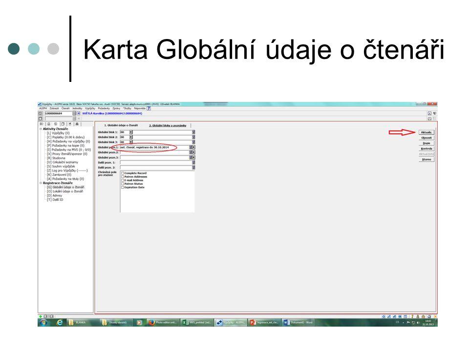 """Karta Lokální údaje o čtenáři zadáme status čtenáře """"04 – Veřejnost zadáme typ čtenáře """"OS – Veřejnost klikneme na """"Zobr."""