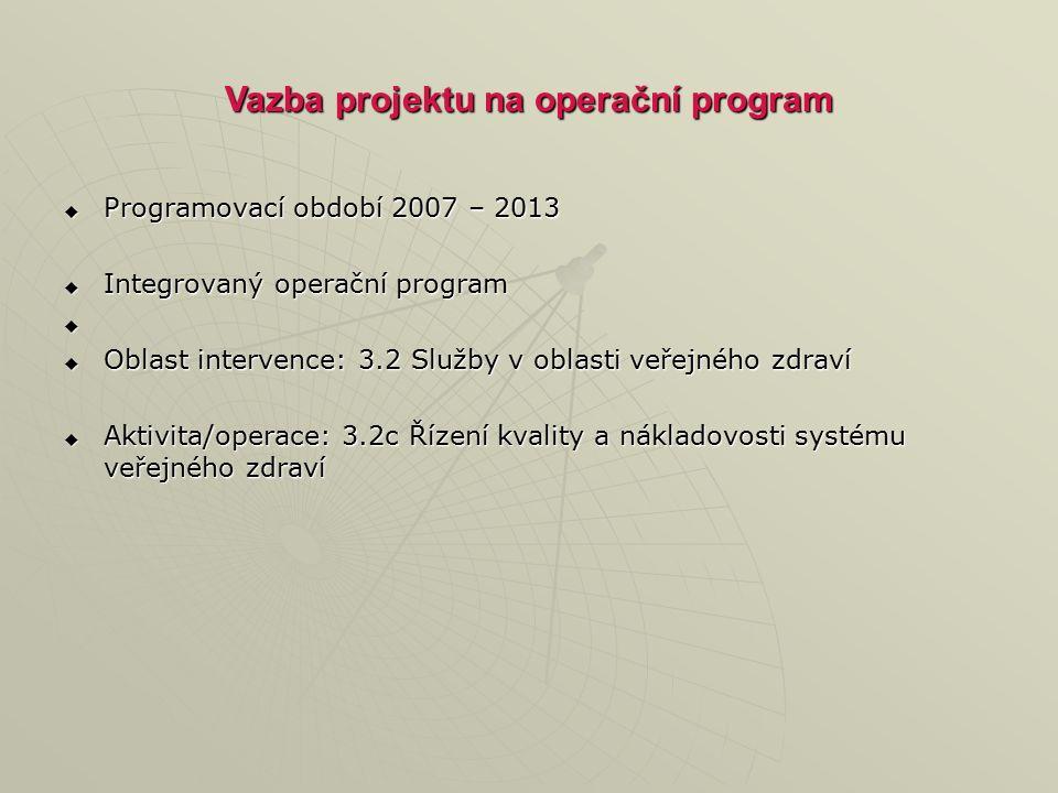 Vazba projektu na operační program  Programovací období 2007 – 2013  Integrovaný operační program   Oblast intervence: 3.2 Služby v oblasti veřejného zdraví  Aktivita/operace: 3.2c Řízení kvality a nákladovosti systému veřejného zdraví