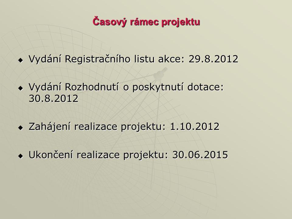 Časový rámec projektu  Vydání Registračního listu akce: 29.8.2012  Vydání Rozhodnutí o poskytnutí dotace: 30.8.2012  Zahájení realizace projektu: 1.10.2012  Ukončení realizace projektu: 30.06.2015