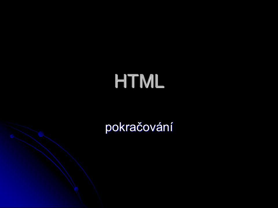 HTML pokračování