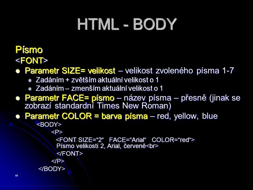 HTML - BODY Písmo Parametr SIZE= velikost – velikost zvoleného písma 1-7 Parametr SIZE= velikost – velikost zvoleného písma 1-7 Zadáním + zvětším aktuální velikost o 1 Zadáním + zvětším aktuální velikost o 1 Zadáním – zmenším aktuální velikost o 1 Zadáním – zmenším aktuální velikost o 1 Parametr FACE= písmo – název písma – přesně (jinak se zobrazí standardní Times New Roman) Parametr FACE= písmo – název písma – přesně (jinak se zobrazí standardní Times New Roman) Parametr COLOR = barva písma – red, yellow, blue Parametr COLOR = barva písma – red, yellow, blue Písmo velikosti 2, Arial, červeně Písmo velikosti 2, Arial, červeně