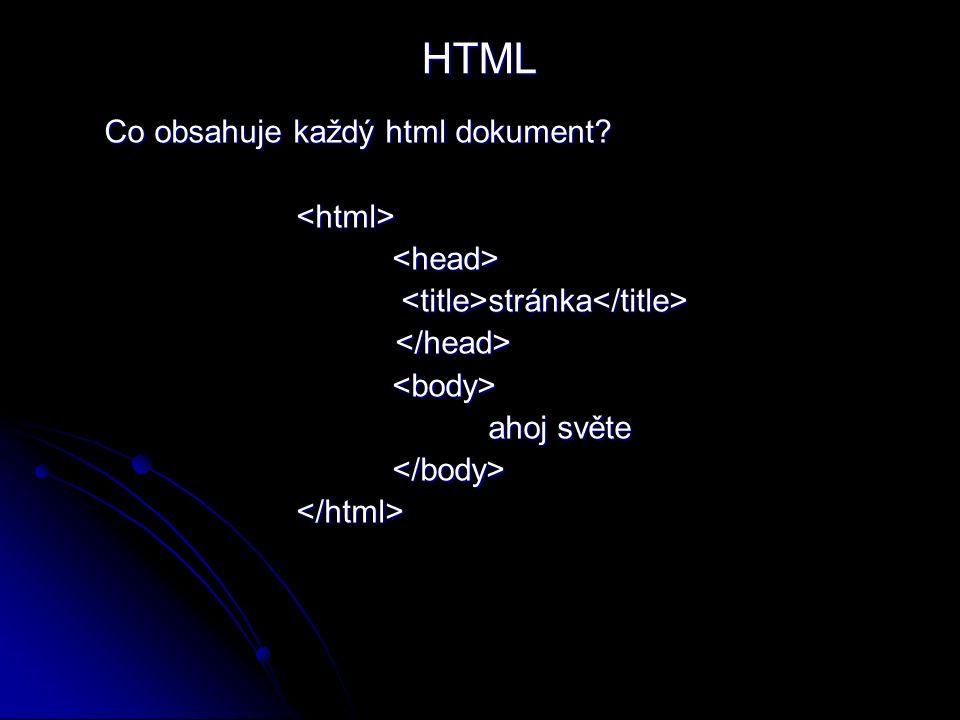 Co obsahuje každý html dokument <html><head> stránka stránka <body> ahoj světe </body></html> HTML