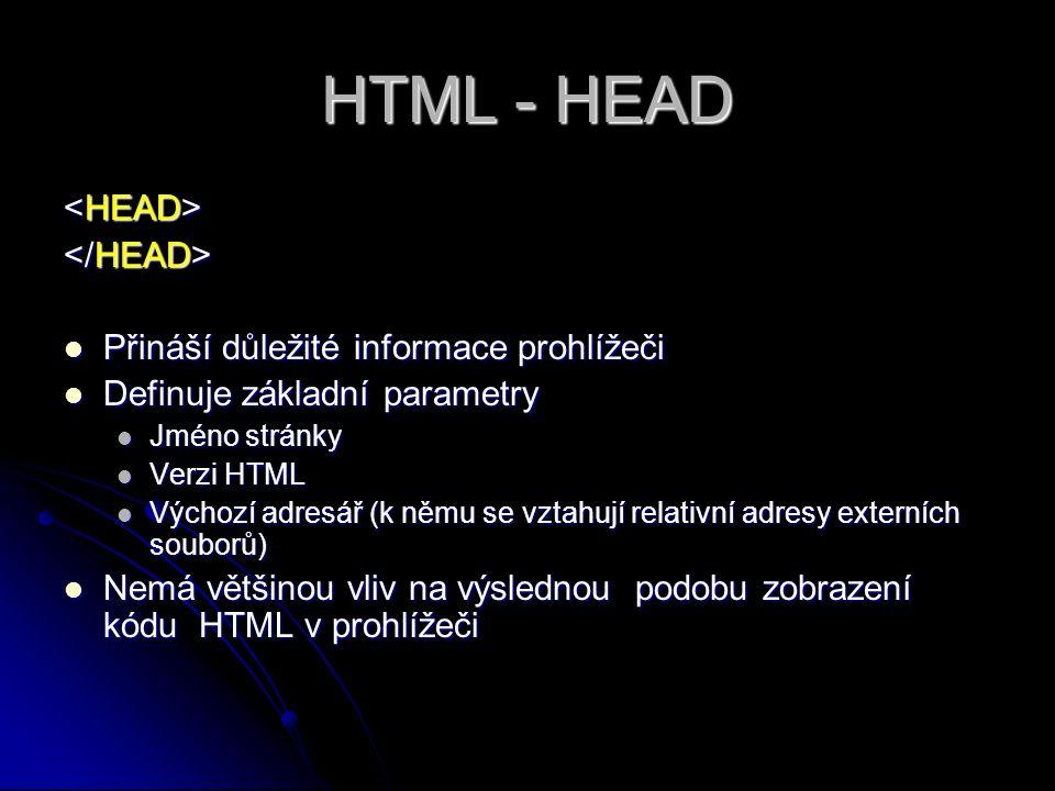HTML - HEAD Přináší důležité informace prohlížeči Přináší důležité informace prohlížeči Definuje základní parametry Definuje základní parametry Jméno stránky Jméno stránky Verzi HTML Verzi HTML Výchozí adresář (k němu se vztahují relativní adresy externích souborů) Výchozí adresář (k němu se vztahují relativní adresy externích souborů) Nemá většinou vliv na výslednou podobu zobrazení kódu HTML v prohlížeči Nemá většinou vliv na výslednou podobu zobrazení kódu HTML v prohlížeči