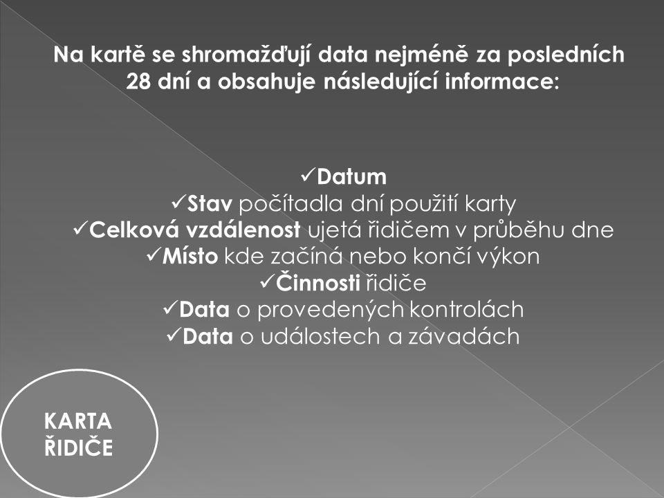 Datum Stav počítadla dní použití karty Celková vzdálenost ujetá řidičem v průběhu dne Místo kde začíná nebo končí výkon Činnosti řidiče Data o provedených kontrolách Data o událostech a závadách Na kartě se shromažďují data nejméně za posledních 28 dní a obsahuje následující informace: KARTA ŘIDIČE