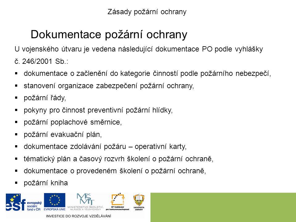 Dokumentace požární ochrany U vojenského útvaru je vedena následující dokumentace PO podle vyhlášky č.