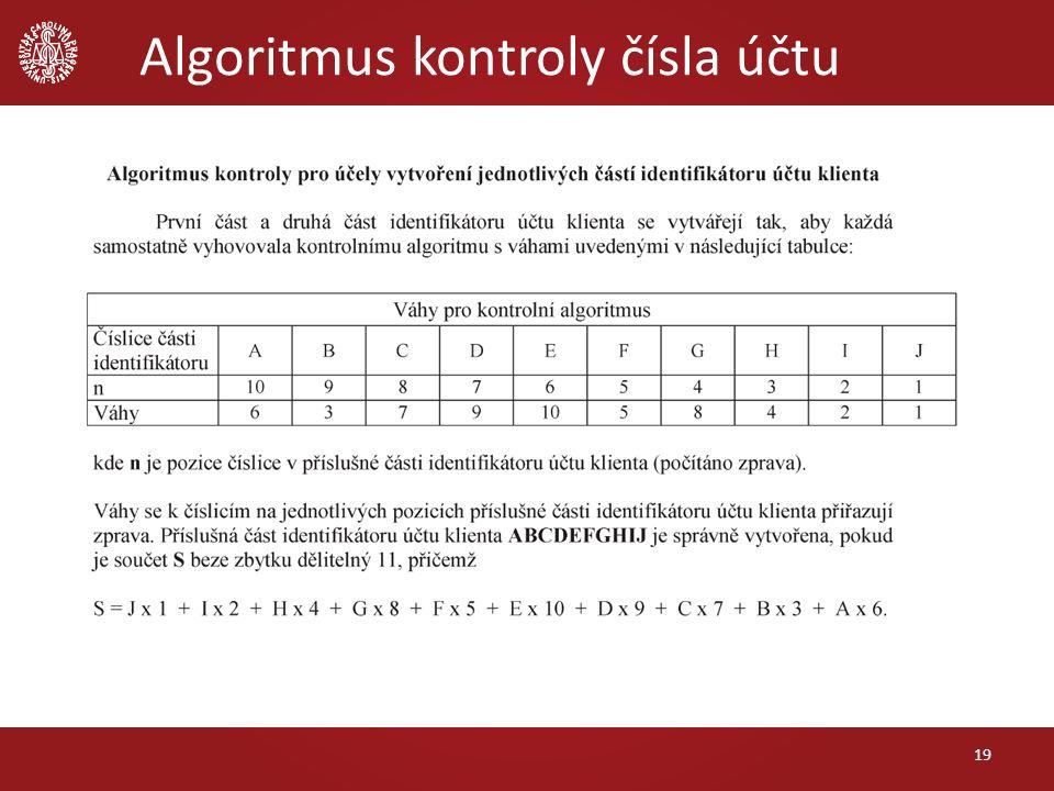 Algoritmus kontroly čísla účtu 19