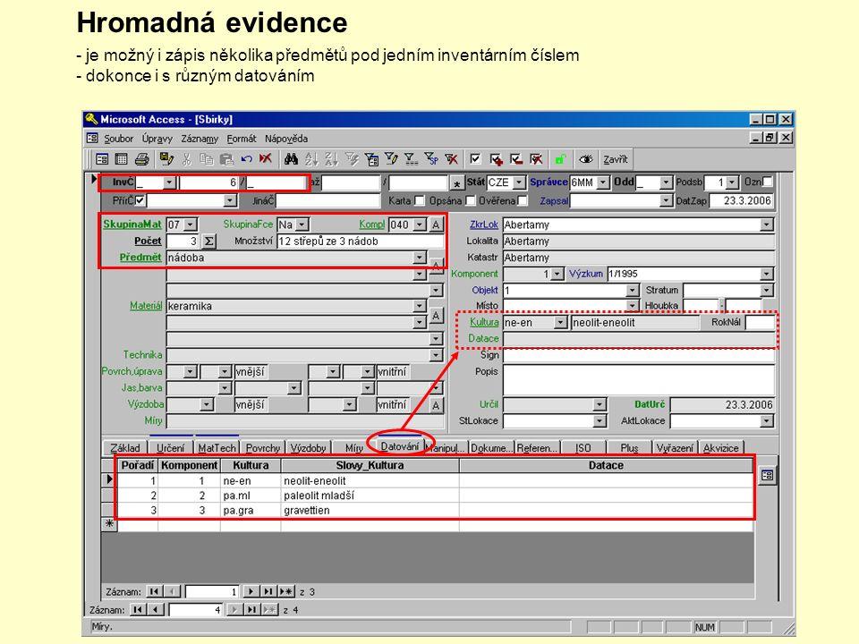 Hromadná evidence - je možný i zápis několika předmětů pod jedním inventárním číslem - dokonce i s různým datováním