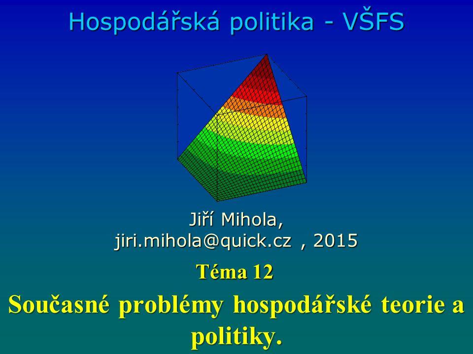 Současné problémy hospodářské teorie a politiky.